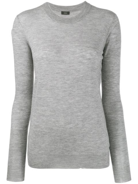 Joseph Crew Neck Sweater In Grey Chine