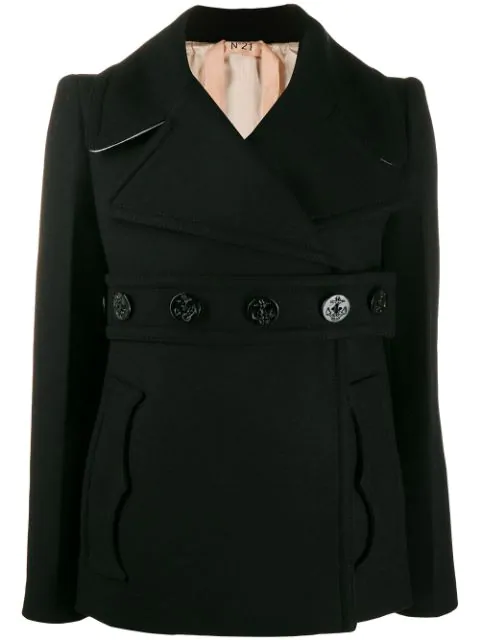 N°21 Belted Double-Breasted Coat In Black