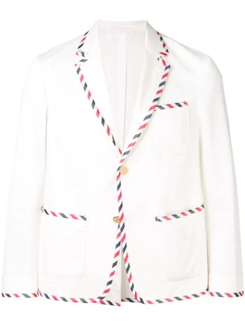 Thom Browne Unconstructed Tux Sack Sport Coat In White