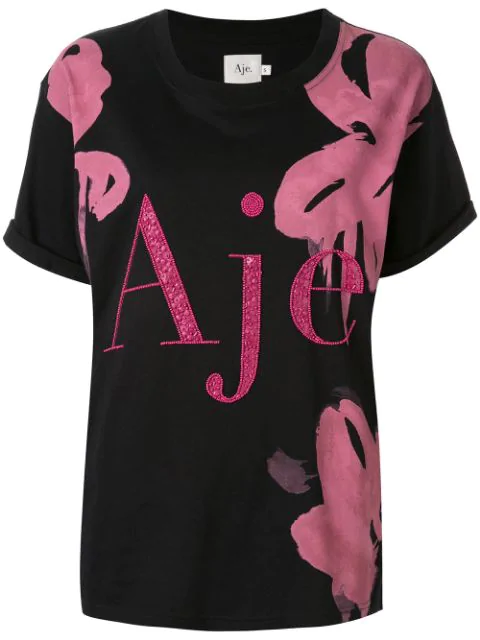 Aje Embellished Logo T-Shirt In Black