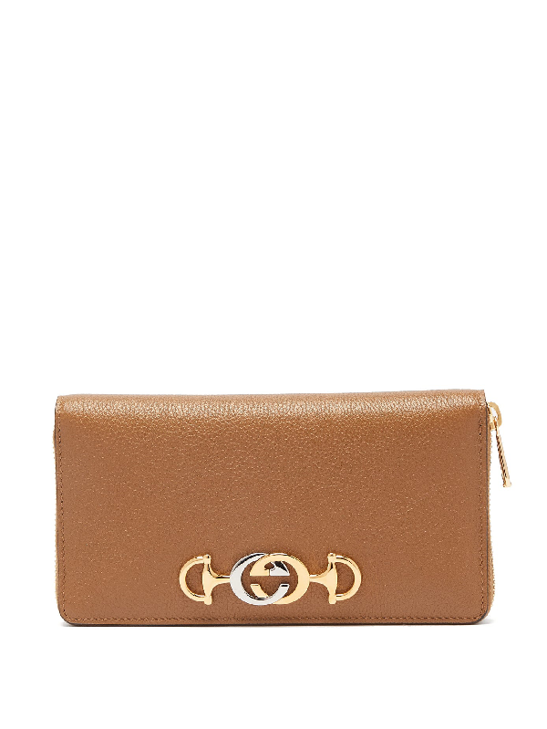 Gucci Zumi Logo-Plaque Gained-Leather Wallet In Tan