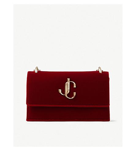 Jimmy Choo Bohemia Velvet Clutch Bag In Red