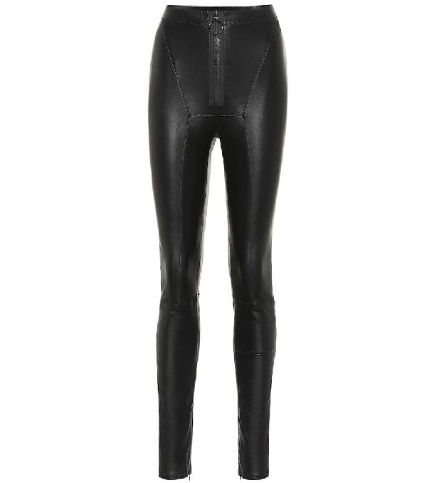 Off-white High-rise Skinny Stretch-leather Leggings In Black