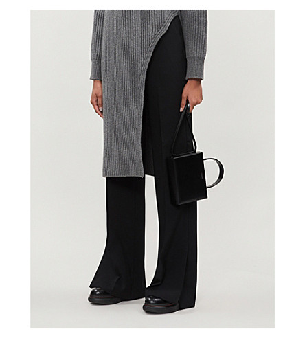 Stella Mccartney Wide-Leg High-Rise Wool Trousers In Black
