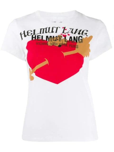 Helmut Lang Heart-Print Cotton-Jersey T-Shirt In Vo2 Chalk White