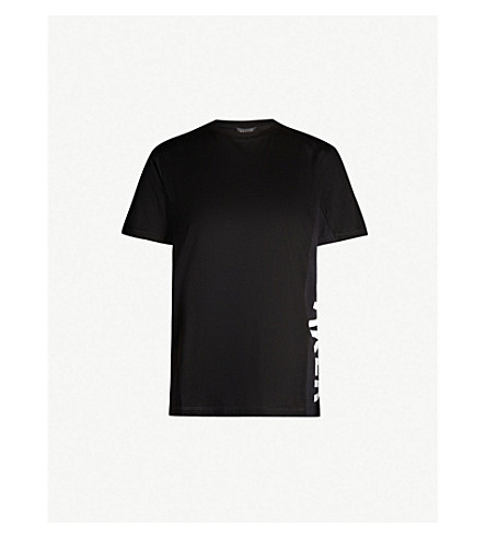 Ted Baker Graphic Logo-Side Cotton-Jersey T-Shirt In Black