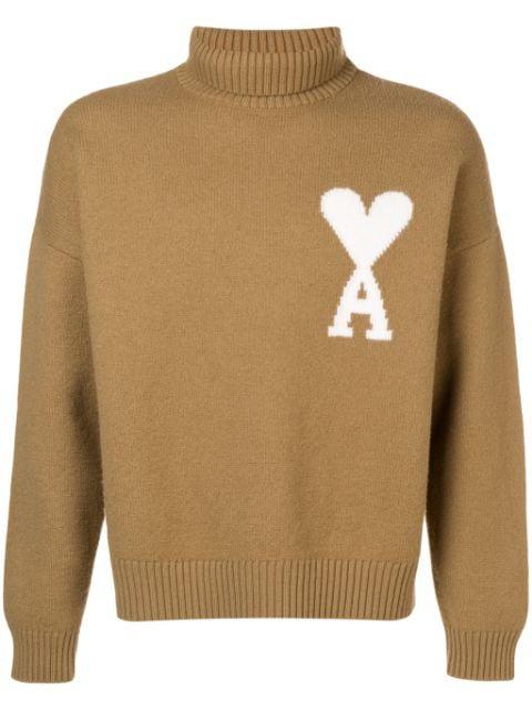 Ami Alexandre Mattiussi Ami De Coeur Intarsia Oversize Funnel Neck Felted Sweater In Neutrals