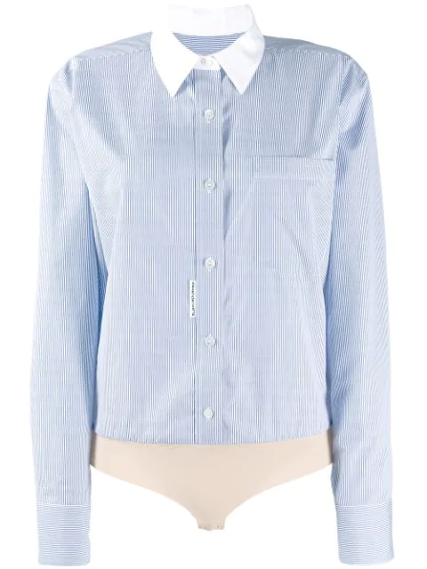 Alexander Wang Micro Stripe Shirt Body In Blue