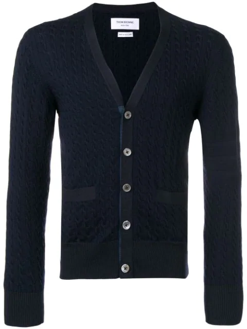 Thom Browne Cable Knit Cardigan In Blue