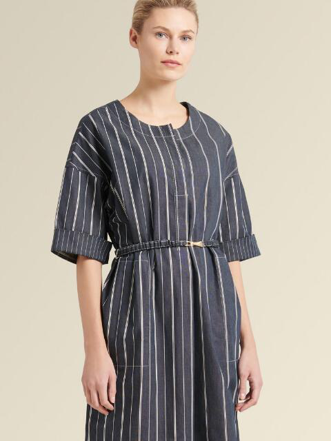 Donna Karan Collarless Striped Dress With Belt In Indigo
