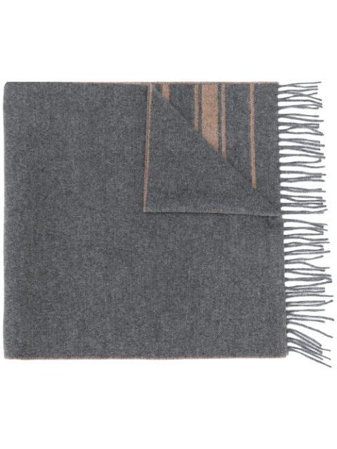 Brunello Cucinelli Fringed Cashmere Scarf In Grey