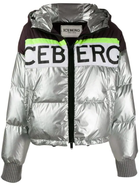 Iceberg Colour Block Puffer Jacket In Silver