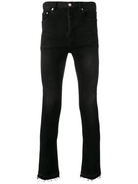 Saint Laurent Raw Edge Skinny Jeans In Black