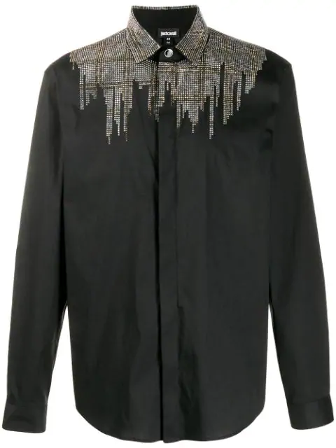 Just Cavalli Sequin Studded Tailored Shirt In 900 Black
