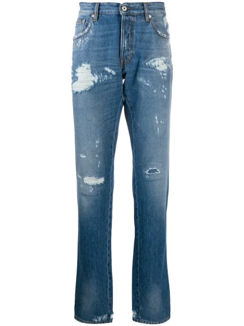 Just Cavalli Distressed Jeans In 470 Blue