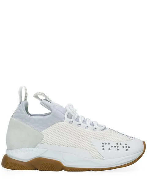 Versace Cross Chainer Mesh And Suede Trainers In White