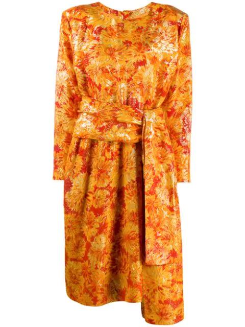 Saint Laurent Lurex Detailing Floral Dress In Orange