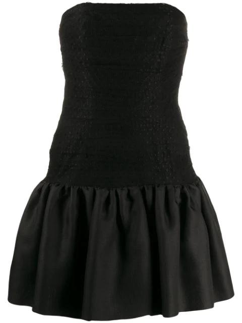 Saint Laurent 1980's Tulle Panel Strapless Dress In Black
