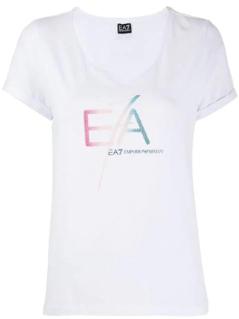 Ea7 Emporio Armani Logo Printed T In White