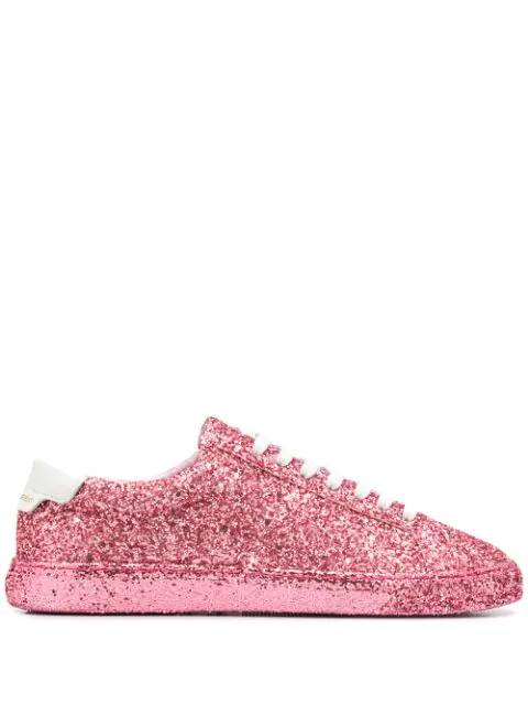 Saint Laurent Andy Sneakers In Crystal Glitter And Leather In Pink