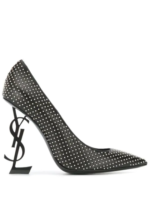 Saint Laurent Opyum Pumps In Leather And Studs With Black Heel In 1000 -Nero