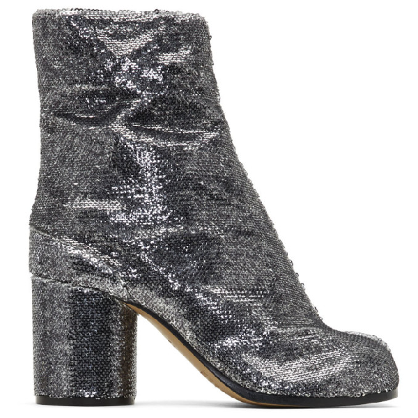 Maison Margiela Tabi High Heels Ankle Boots In Silver Leather In T9002 Silve