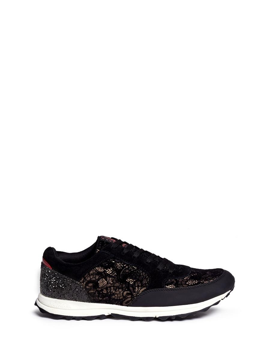 Sam Edelman 'Des' Glitter Velvet Flock Lace Sneakers In Black