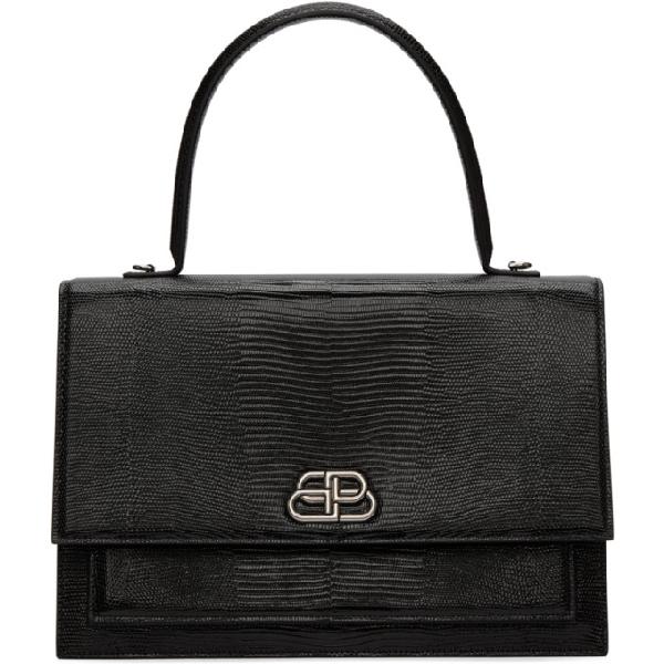 Balenciaga Black Large Lizard Sharp Bag In 1000 Blk