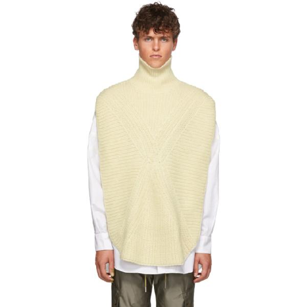 Almostblack White Knit Vented Turtleneck