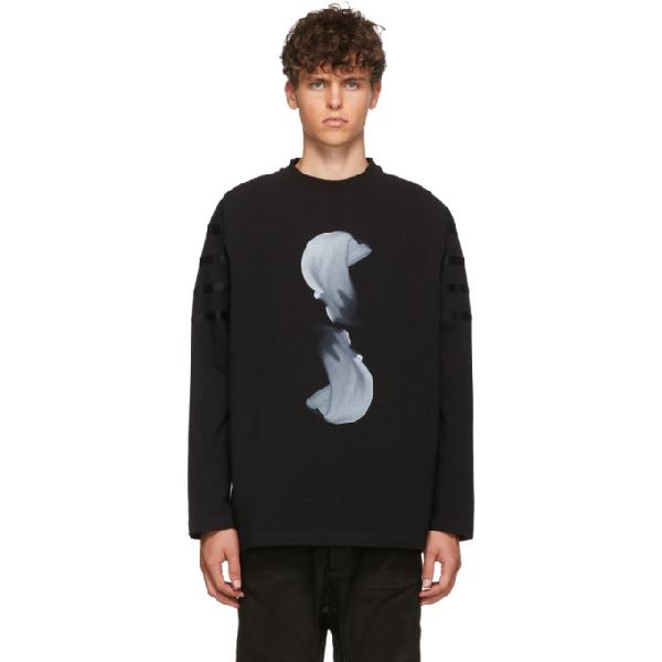 Almostblack Black Graphic Long Sleeve T-shirt