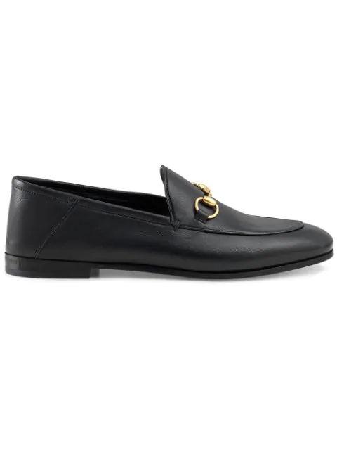 Gucci Slip On Shoes Brixton  Smooth Leather Horsebit-Detail Black