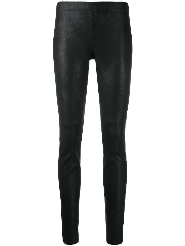 Yves Salomon Leather Leggings In C99 Noir