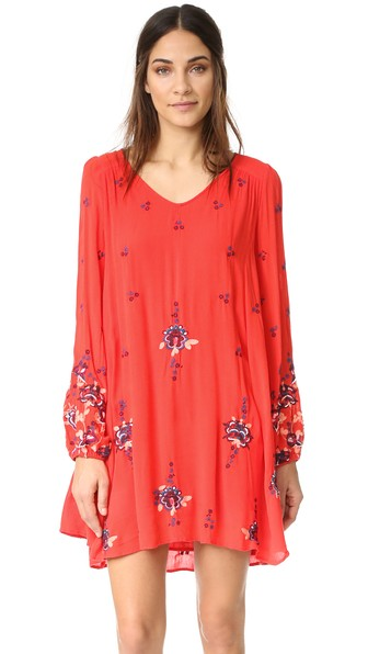 6ad47d6e84647 Free People Oxford Embroidered Mini Dress In Red Combo | ModeSens