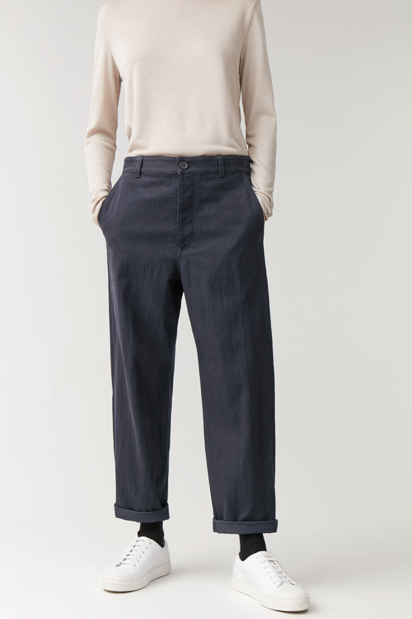 Cos Relaxed Button-up Chinos In Blue
