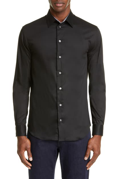 Emporio Armani Men's Solid Sport Shirt With Contrast Detail In Black