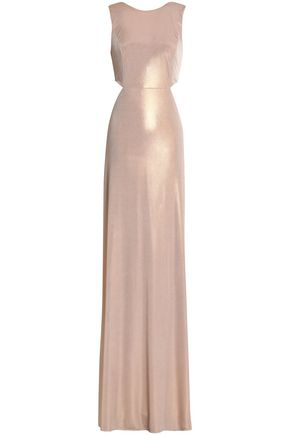 eb1fba972b0 Halston Heritage Sleeveless Twist-Back Metallic Jersey Column Gown,  Primrose In Metallic Primrose