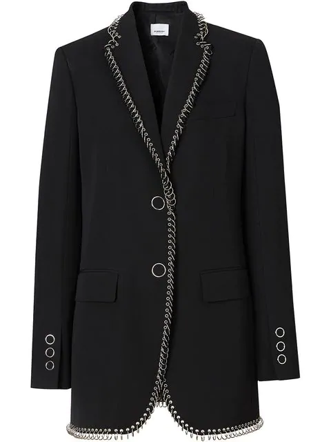 Burberry Ring-Embellished Single-Breasted Wool Blazer In Black