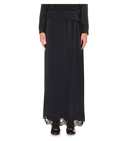 ChloÉ Lace-Trimmed Silk Maxi Skirt In Navy