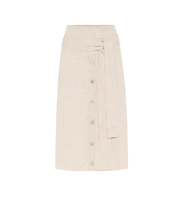 Joseph Wool-Blend Midi Skirt In Beige