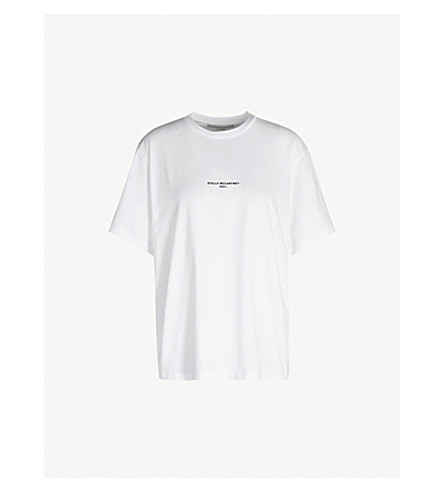 Stella Mccartney Logo-Print Cotton-Jersey T-Shirt In White