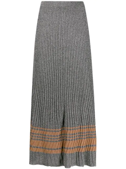 Sandro Sloane Metallic Ribbed Maxi Skirt In Silver