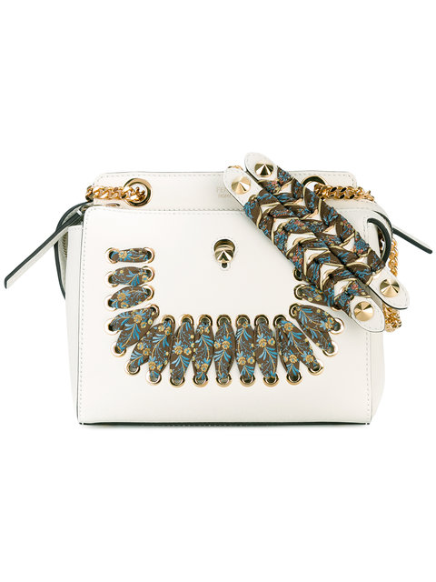 1df252ce7b52 Fendi Dotcom Whipstitched Leather Cross-Body Bag In White
