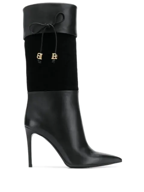 Balmain Mina Boot In Leather And Suede Color Black