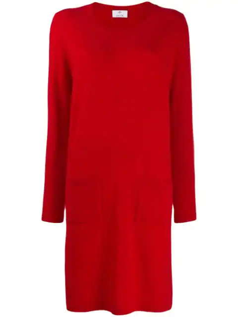 Allude Fine Knit Sweater Dress In Red