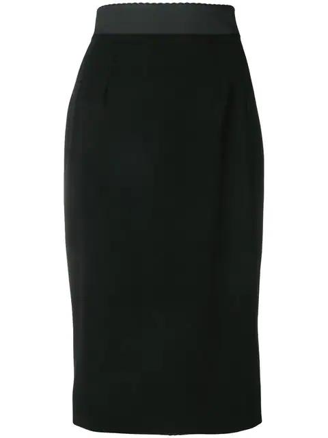 Dolce & Gabbana Stretch Wool Pencil Skirt In Black