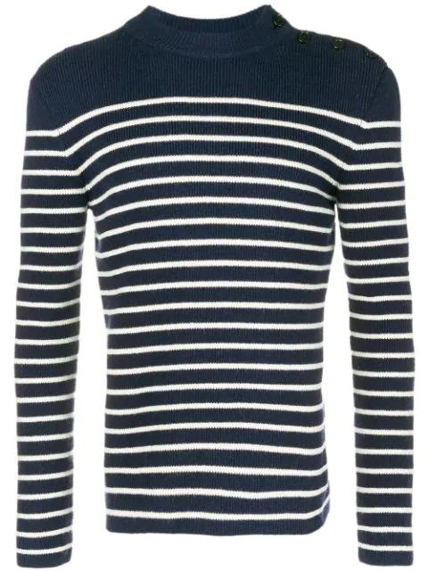 Saint Laurent Striped Wool Rib Knit Sweater In Blue
