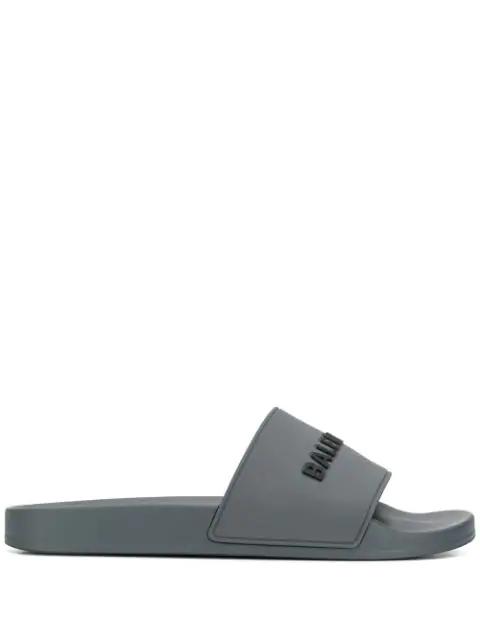 Balenciaga Grey Logo Rubber Sliders