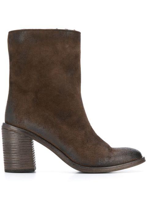 MarsÈLl Block Heel Ankle Boots In Brown