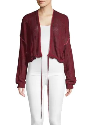 Free People Knit Cotton Cardigan In Wine