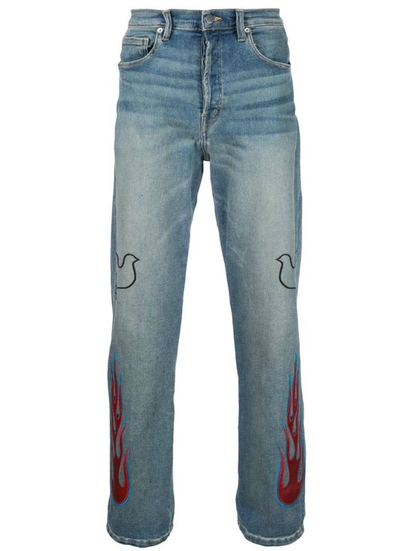 Lost Daze Dove Flame Jeans In Blue